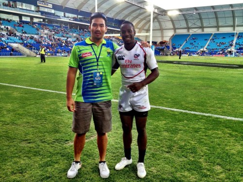With USA's Rugby Sevens star, Carlin Isles at Gold Coast 7s.